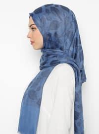 Indigo - Printed - Cotton - Shawl
