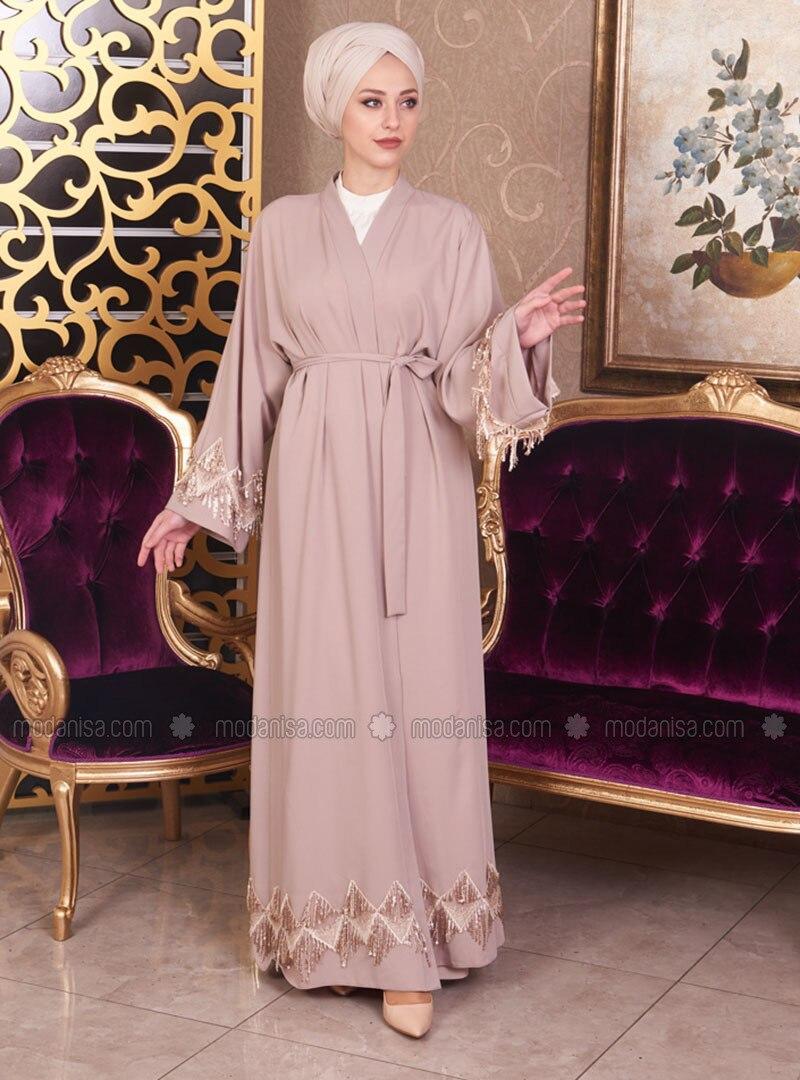Cream - Unlined - V neck Collar - Cotton - Abaya