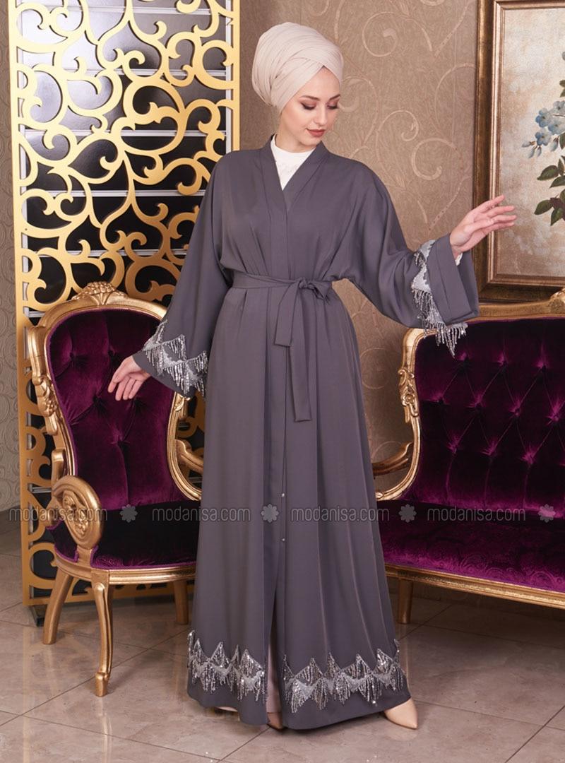 Gray - Unlined - V neck Collar - Cotton - Abaya