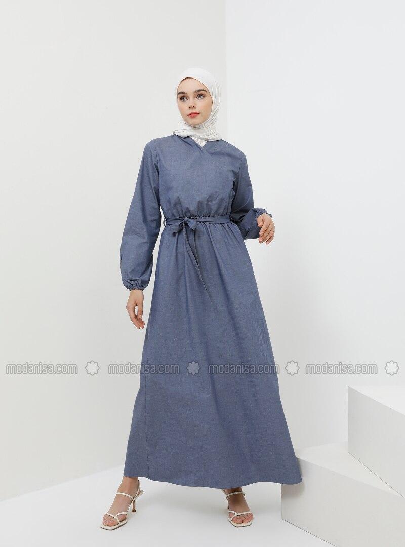 Navy Blue - V neck Collar - Unlined - Cotton - Denim - Dress