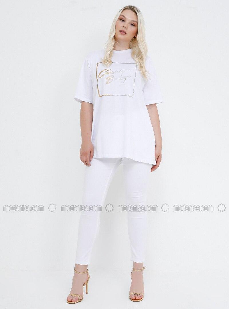 White - Ecru - Plus Size Pants