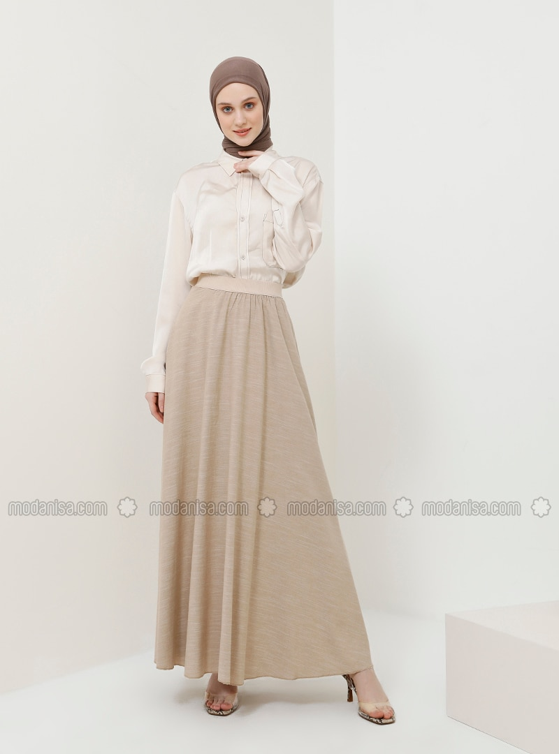 Beige - Unlined - Cotton - Skirt