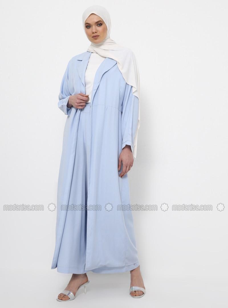 Blue - Unlined - Shawl Collar - Cotton - Topcoat