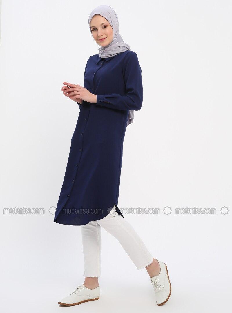 Navy Blue - Saxe - Point Collar - Tunic