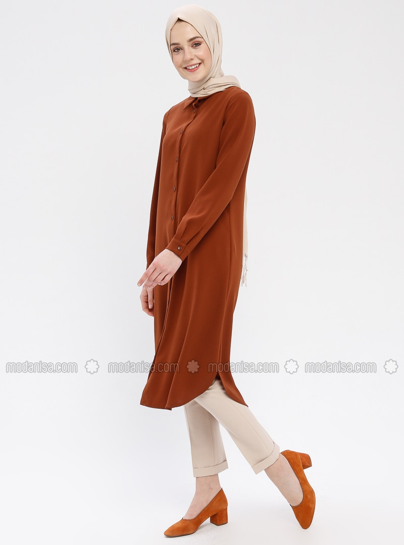Tan - Point Collar - Tunic