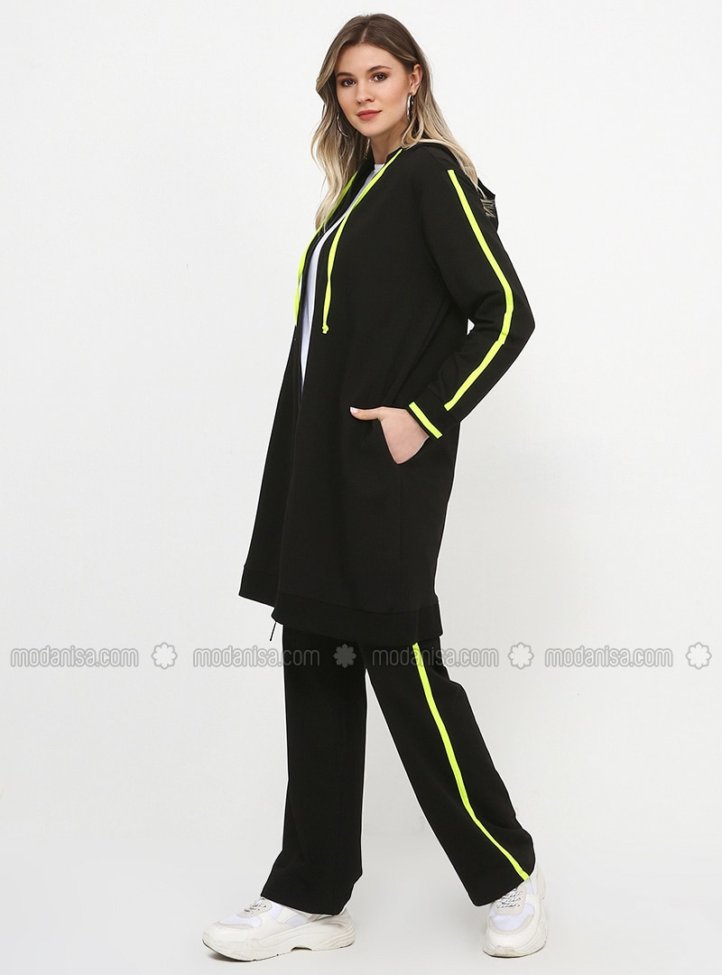 Black - Yellow - Unlined - Cotton - Plus Size Suit