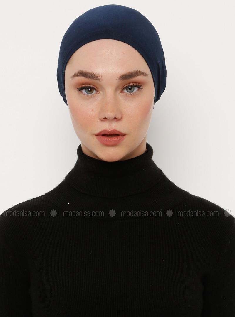 Navy Blue - Lace up - Viscose - Bonnet