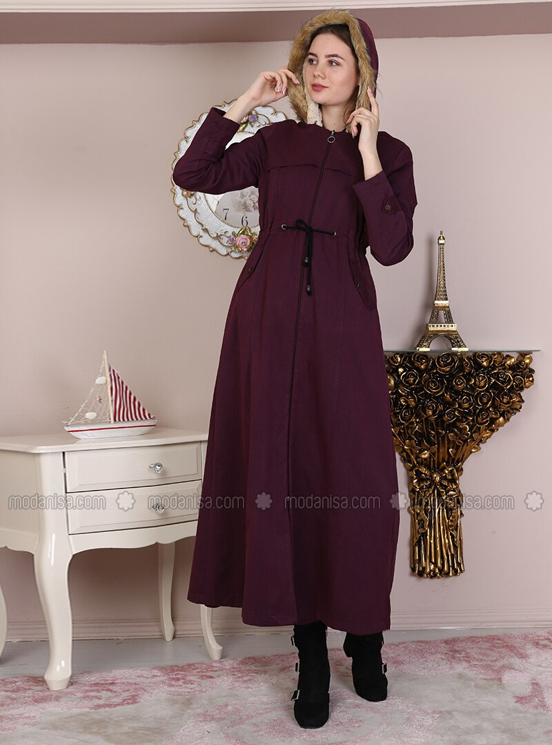 Maroon - Fully Lined - Crew neck - Cotton - Coat