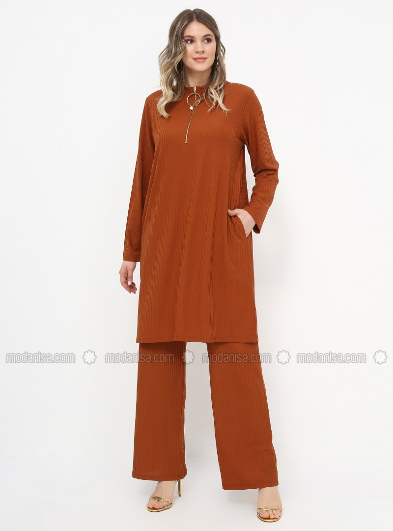 Tan -  - Polo neck - Unlined - Plus Size Suit