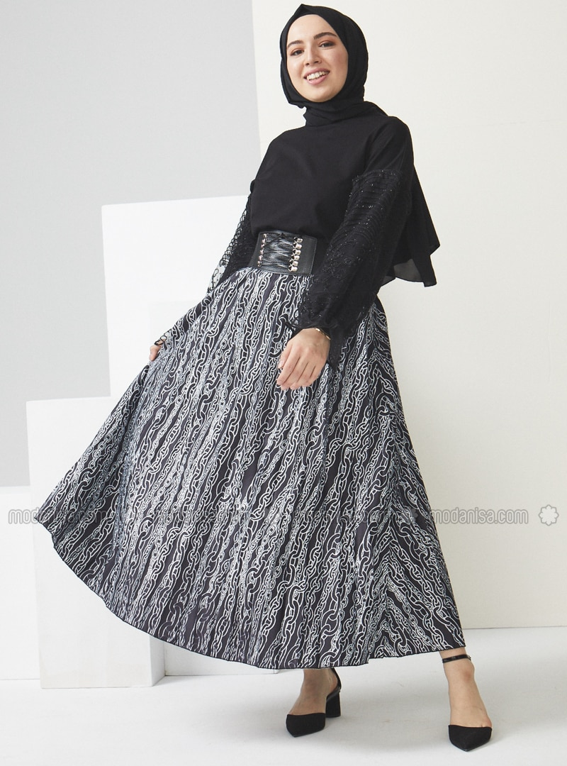 Black - Multi - Unlined - Skirt