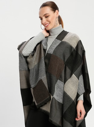 Brown - Beige - Checkered - Unlined - Wool Blend - Acrylic - Poncho - GINA LOREN