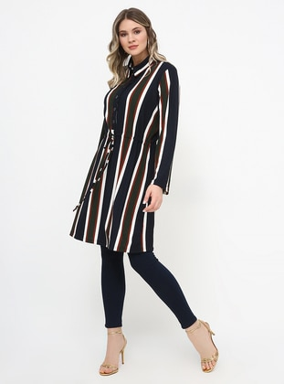Navy Blue - Stripe - Point Collar - Plus Size Tunic - Alia