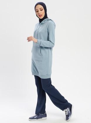 Blue - Indigo - Cotton - Pants