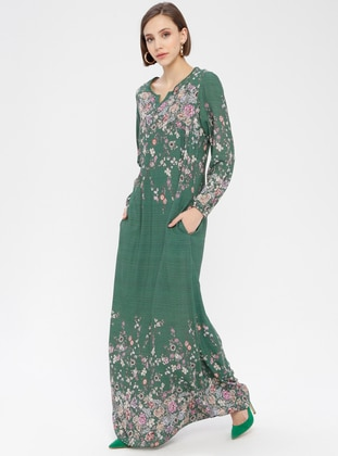 Green - Floral - Crew neck - V neck Collar - Unlined - Dress