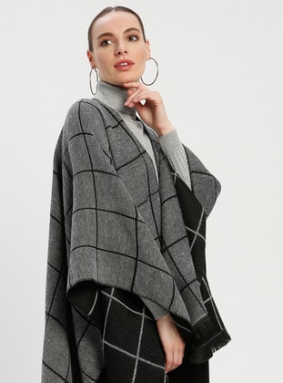 Black - Gray - Stripe - Unlined - Wool Blend - Acrylic - Poncho - GINA LOREN