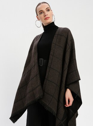 Black - Brown - Stripe - Unlined - Wool Blend - Acrylic - Poncho - GINA LOREN
