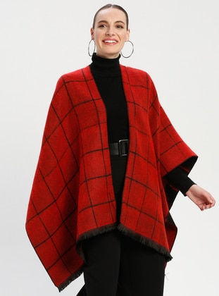 Red - Black - Stripe - Unlined - Wool Blend - Acrylic - Poncho