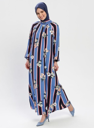 Blue - Multi - Polo neck - Unlined - Cotton - Dress