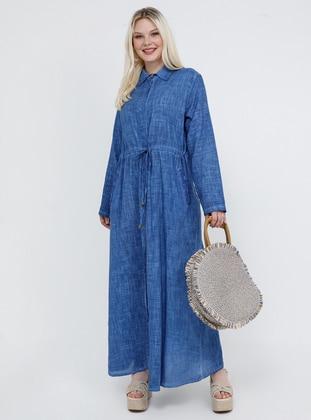 Blue - Navy Blue - Indigo - Unlined - Point Collar - Cotton - Plus Size Dress