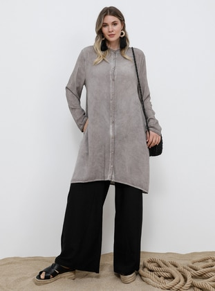 Mink - Button Collar - Viscose - Plus Size Tunic