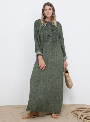 Khaki - Unlined - Crew neck - Cotton - Plus Size Dress - Alia