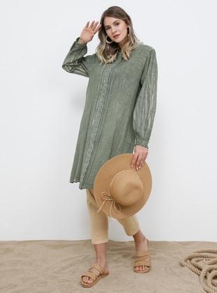 Khaki - Crew neck - Cotton - Plus Size Tunic - Alia