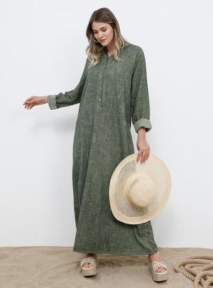 Khaki - Unlined - Cotton - Plus Size Dress - Alia