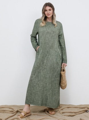 Khaki - Unlined - Crew neck - Cotton - Plus Size Dress - Alia