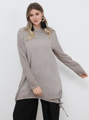 Mink - Crew neck - Viscose - Plus Size Tunic