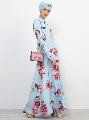 Blue - Floral - Point Collar - Unlined - Viscose - Dress