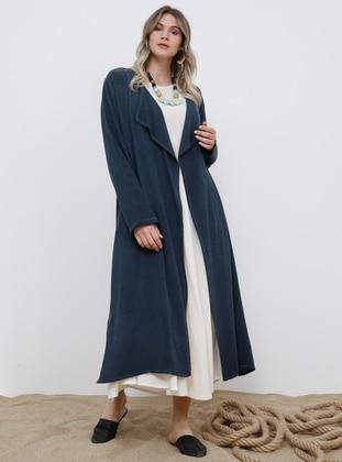 Navy Blue - Unlined - Shawl Collar - Viscose - Plus Size Coat