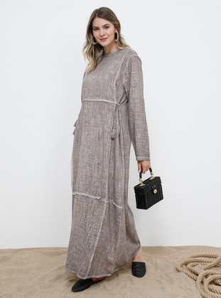 Mink - Unlined - Crew neck - Cotton - Plus Size Dress