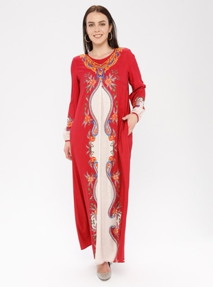 Multi - Maroon - Ethnic - Crew neck - Unlined - Dress