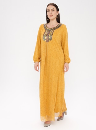 Yellow - Ethnic - Crew neck - Fully Lined - Dress