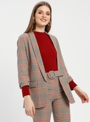 Terra Cotta - Plaid - Shawl Collar - Jacket