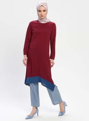 Petrol - Maroon - Crew neck - Cotton - Tunic