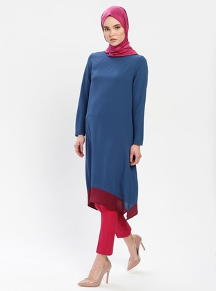 Blue - Maroon - Indigo - Crew neck - Cotton - Tunic