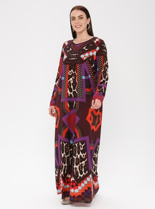 Black - Purple - Geometric - Leopard - Crew neck - Unlined - Dress