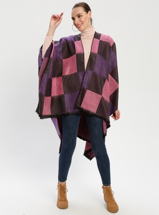 Pink - Purple - Checkered - Unlined - Wool Blend - Acrylic - Poncho