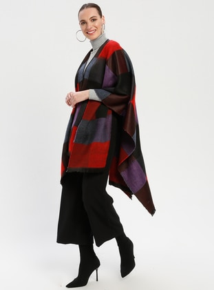 Black - Purple - Checkered - Unlined - Wool Blend - Acrylic - Poncho