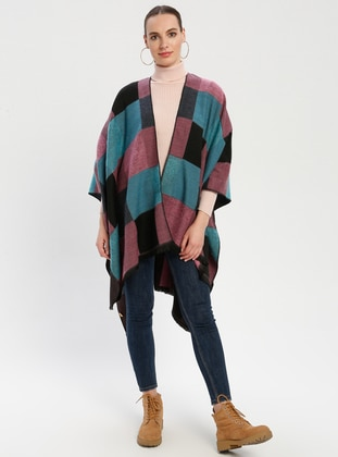 Black - Turquoise - Checkered - Unlined - Wool Blend - Acrylic - Poncho