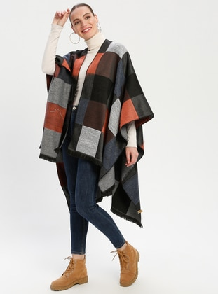 Black - Orange - Checkered - Unlined - Wool Blend - Acrylic - Poncho