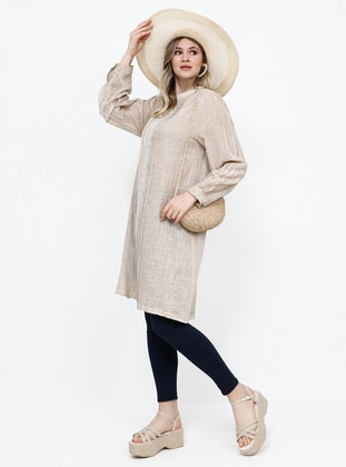 Beige - Crew neck - Cotton - Plus Size Tunic