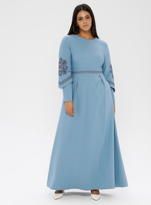 Blue - Unlined - Crew neck - Plus Size Dress