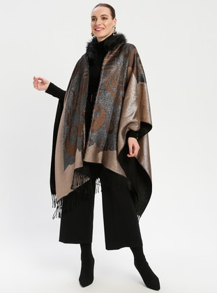 White - Tan - Multi - Unlined - Poncho
