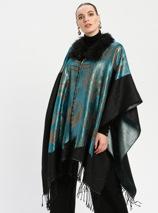 Yellow - Turquoise - Multi - Unlined - Poncho