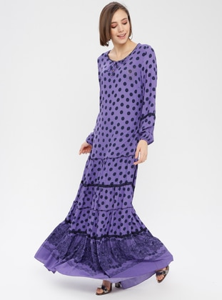 Purple - Polka Dot - Crew neck - Fully Lined - Dress