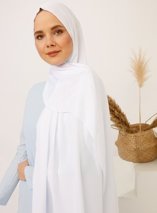 White - Plain - Crepe - Shawl - Şal