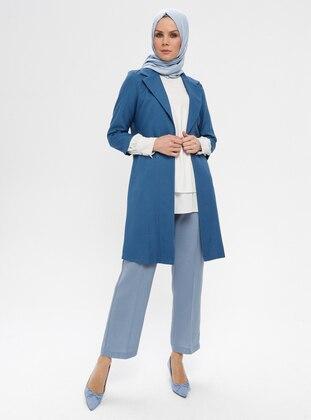 Blue - Indigo - Unlined - Shawl Collar - Jacket