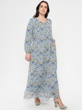 Blue - Floral - Crew neck - Fully Lined - Chiffon - Dress